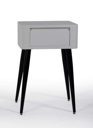 Edge Collection 124902 20 inch  Side Table with 1 Large Drawer and Long Tapered Legs in Black and