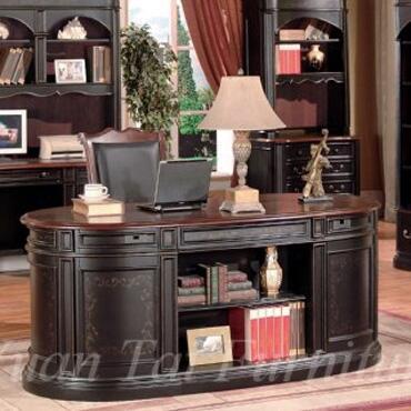 KA6190D Kahlua Wood Executive Desk in Black and Dark Cherry