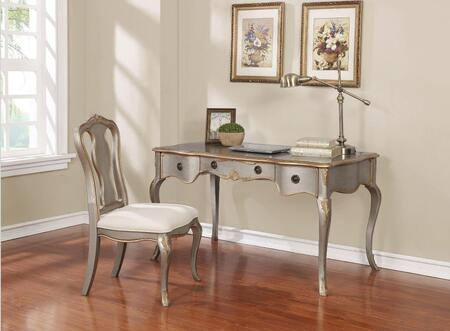 801681 2-Piece Desk Set with Writing Desk and Chair in Metallic Silver with Brushed Gold