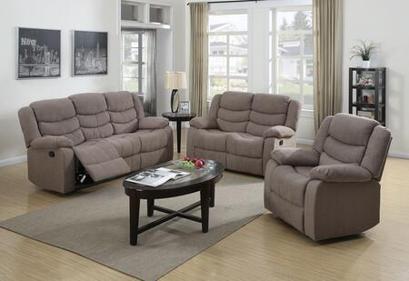 Jacinta Collection 51415SET 6 PC Living Room Set with Sofa + Loveseat + Recliner + 3 PK Table Set in Light Brown