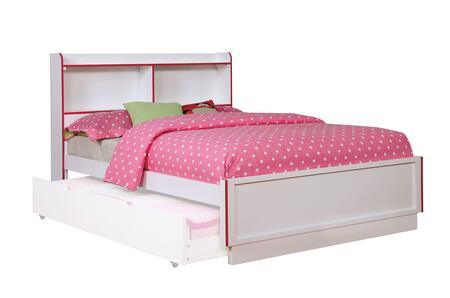 Bobbi Collection CM7852PK-F-BED Full Size Bed with Open Shelf  Colorful Trim  Solid Wood and Wood Veneers Construction in Pink and White