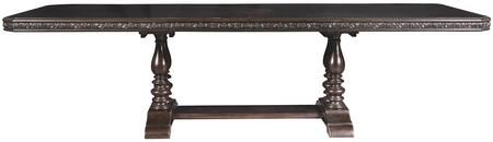 Monarch Collection 8794-131 78 inch  Trestle Dining Table with Two 18 inch  Leaves  Carved Detailing on Apron and Fancy Faced Top in