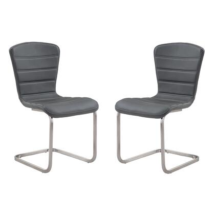 LCCASIGR Cameo Modern Side Chair In Gray and Stainless Steel - Set of