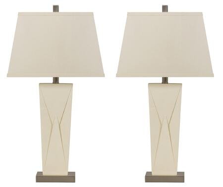 LRadley 245374 Set od 2 Poly Table Lamps with Tapered Body  Metal Base and Hardback Shade in