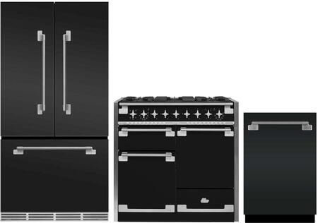 3-Piece Matte Black Kitchen Package with MELFDR23MBL 36 inch  French Door Refrigerator  AEL48DFMBL 48 inch  Freestanding Dual Fuel Range  and AELTTDWMBL 24 inch  Fully