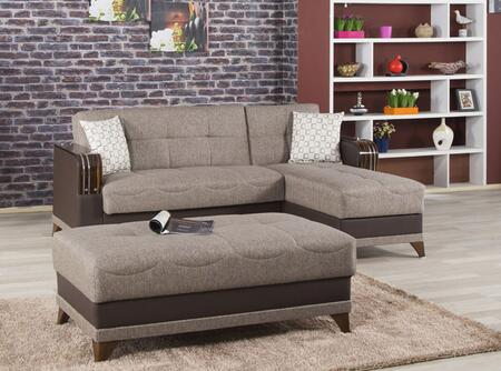 ALMSECOTTCB Almira Sectional Sleeper Sofa and Ottoman with Matching Pillows  Tufted Detailing  Tapered Legs and Upholstered in Comet