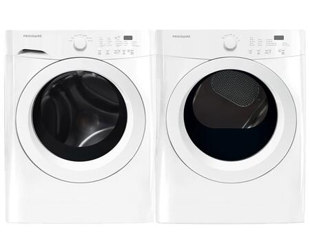 """White Front Load Laundry Pair with FFFW5000QW 27"""" Washer and FFQE5000QW 27"""" Electric"""