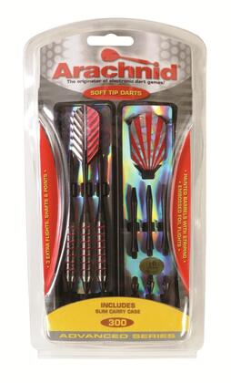 SFA300 Soft Dart Set with Six 0.187 inch  Tips  Striped Metallic Coated Barrels with Black/Red Striping  Six Nylon Shafts  Three Embossed Foil Flights  and SlimTrac