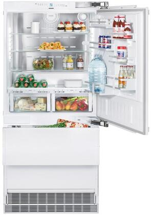 """36""""_Bottom_Freezer_Refrigerator_with_80""""_Height_Door_Panels_and_Tubular_Handles_in_Stainless"""