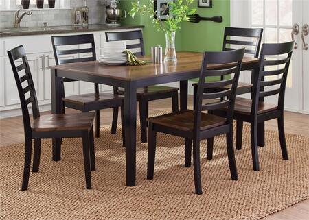 Cafe Collection 56-CD-7RLS 7-Piece Dining Room Set with Rectangular Dining Table and 6 Side Chairs in Black and Cherry