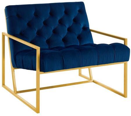 Modway EEI-3073-NAV Bequest Gold Stainless Steel Upholstered Velvet Accent Chair Navy