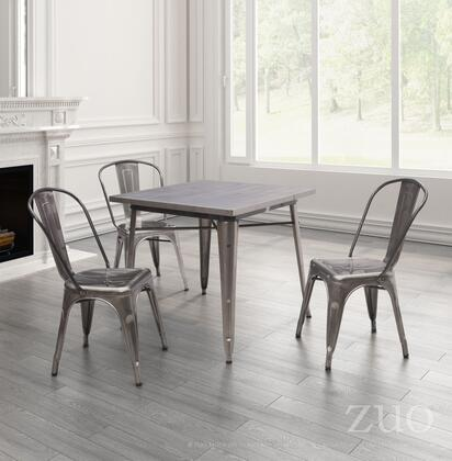 109125 Olympia 32 Non-Stackable Square Dining Table with Solid Steel Construction and Steel Top  Gunmetal
