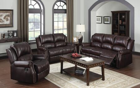 Josef 50775SLR 3 PC Living Room Set with Sofa + Loveseat + Recliner in Brown
