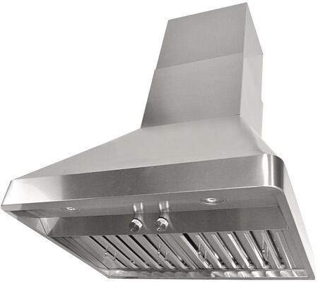 RAX9542SQB-DC24-1 42 inch  Wall Mount Range Hood with 1200 CFM Internal Dual Blower  3 Speeds  Rotary Control  LED lights and Stainless steel Professional Baffle