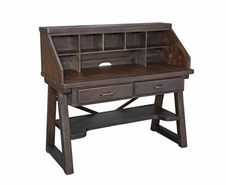 Billings 1840-343 Desk and Hutch with Two Drawers  Simple Drawers and Indonesian Hardwoods in Dark