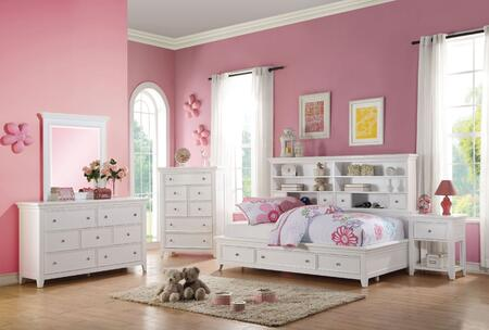 Lacey Collection 30595FSET 5 PC Bedroom Set with Full Size Daybed + Dresser + Mirror + Chest + Nightstand in White