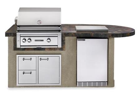 L2500GNG Sedona Deluxe Series Outdoor Kitchen Island Package with Gas Grill  Sedona Outdoor-Rated Refrigerator  Double Side Burner and Door Drawer Combo in