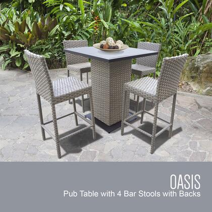 OASIS-PUB-WITHBACK-4 5-Piece Oasis Pub Table Set Table and 4 Bar Stools with