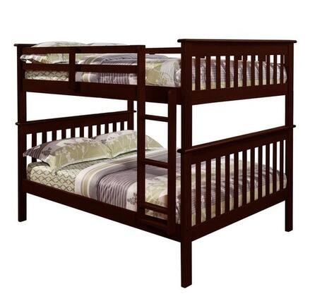 123-3E Full Over Full Mission Bunk Bed with Molding Details  Built in Ladder  Slat Headboards and Footboards in