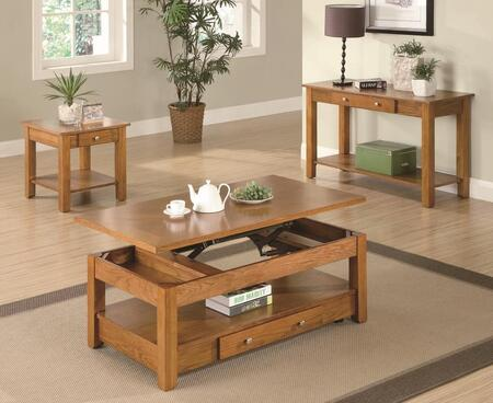 701438CES 3 PC Living Room Table Set with Coffee Table + End Table + Sofa Table in Amber