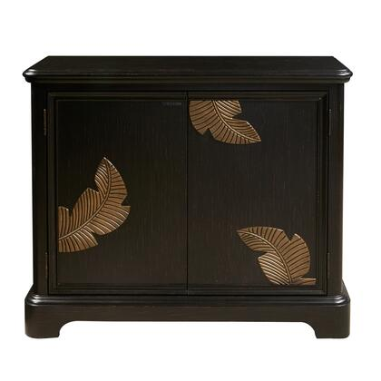 D153071 Modern Black Bar Cabinet With A Gold Finish Leaf Carving In