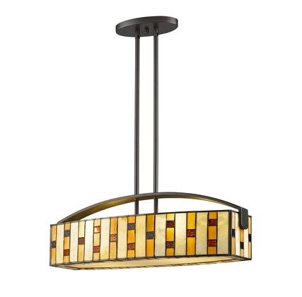 Raya Z24-51IS 9.75 inch  4 Light Island/Billiard Light Craftsman  Tiffany  Billiardhave Steel Frame with Java Bronze finish in Multi Colored
