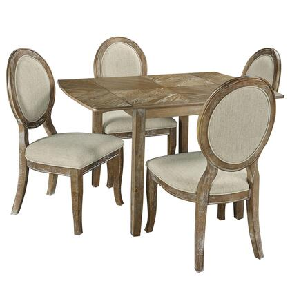 McKenzie D1110D17 5-Piece Dining Set with Extendable Table and 4 Side Chairs in Woodgrain
