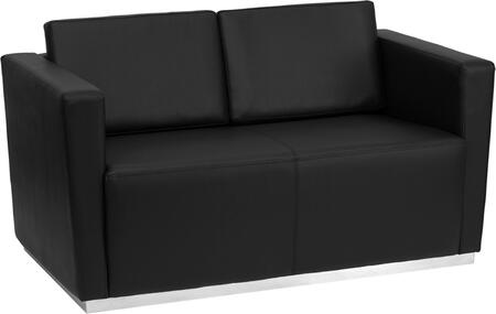 ZB-TRINITY-8094-LS-BK-GG HERCULES Trinity Series Contemporary Black Leather Love Seat with Stainless Steel