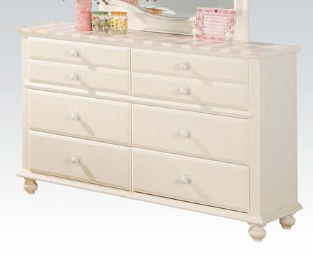 "Zoe Collection 11041 54"" Dresser with 6 Drawers  Pink Striped Details  Turned Legs and Wood Frame in White"