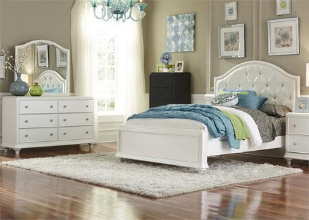 Stardust Collection 710-YBR-FPBDM 3-Piece Bedroom Set with Full Panel Bed  Dresser and Mirror in Iridescent White