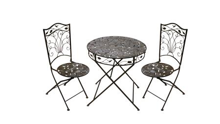 BVK116A Alpine 3PC Metal Outdoor Patio Bistro Table and 2
