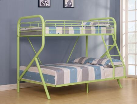 Tracy Collection 37320 Twin Over Full Size Bunk Bed with Right Facing Ladder  Metal Slats  Full-Length Guardrails and R-Shaped Steel Tube Frame in Green