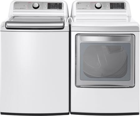 """White Top Load Laundry Pair with WT7600HWA 27"""""""" Washer and DLEX7600WE 27"""""""" Electric -  LG, 718897"""