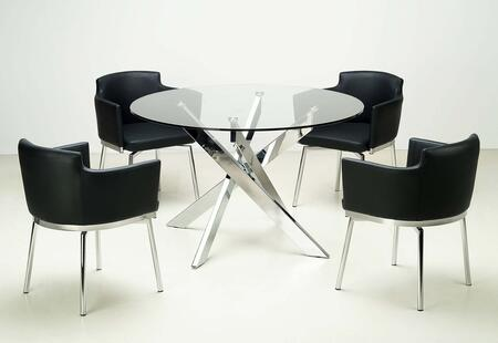 DUSTY-5PC-BLK DUSTY DINING 5-Piece Dining Set with Round Glass Dining Table and 4 Black Club Style Swivel Arm