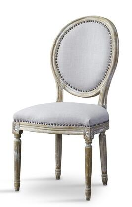 Baxton Studio TSF9315BEIGECC Clairette French Accent Chair with Bronze Nail Head Trim  Polyurethane Foam Cushions  Distressed Birch Frame and Fabric
