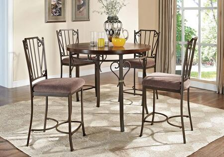 Barry 70690T4C 5 PC Bar Table Set with Counter Height Table + 4 Chairs in Walnut