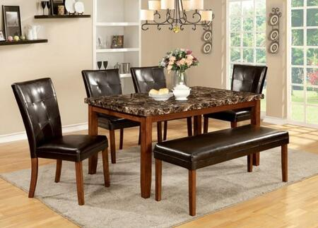 Elmore Collection CM3328T4SCBN 6-Piece Dining Room Set with Rectangular Table  6 Side Chairs and Bench in Antique Oak