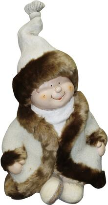 QWR580 19 Boy with White/Brown Coat and Hat Sitting Cross