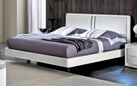 Dama Bianca Collection i16977 Queen Size Bed with Upholstered Headboard and Wood Construction in White
