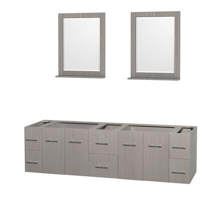 Wcvw00980dgocxsxxm24 80 In. Double Bathroom Vanity In Gray Oak  No Countertop  No Sinks  And 24 In.