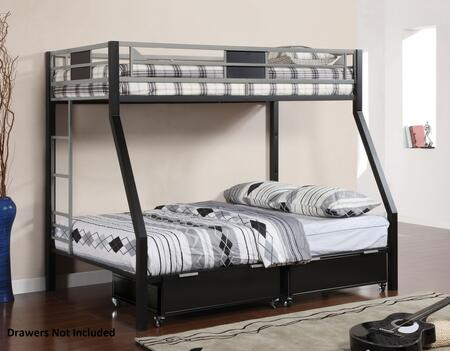 Clifton CM-BK1022 Twin/Full Bunk Bed with Contemporary Style  Full Metal Construction (Drawers Not Included) in Silver and