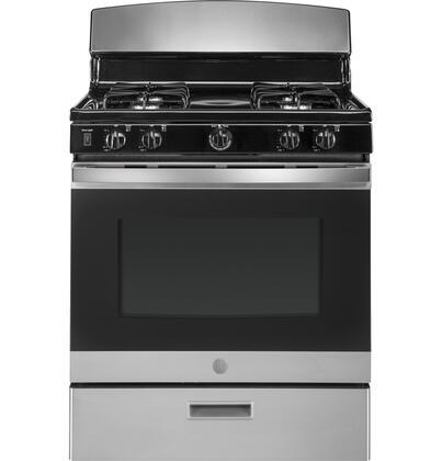 GE JGBS30REKSS 30 Inch Freestanding Gas Range with 4 Sealed Burner Cooktop, in Stainless Steel