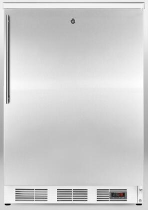 """FF7LPUBSSHV 24"""" Commercial Pub Cellar with 5.5 cu. ft. Capacity  3 Glass Shelves  White Cabinet  Lock  Automatic Defrost  and Digital Thermostat  in Stainless"""