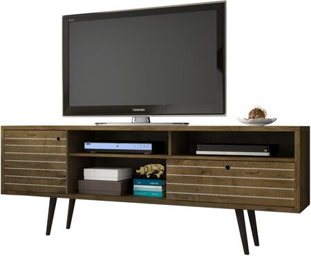 """Liberty Collection 202AMC9 71"""" Mid Century - Modern TV Stand with Solid Wood Legs  4 Shelving Spaces and 1 Drawer in Rustic"""