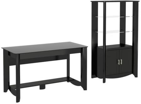 Aero Collection MY16928-03-92 2-Piece Desk Set with Writing Desk and Tall Storage Cabinet with Shelves in Classic Black
