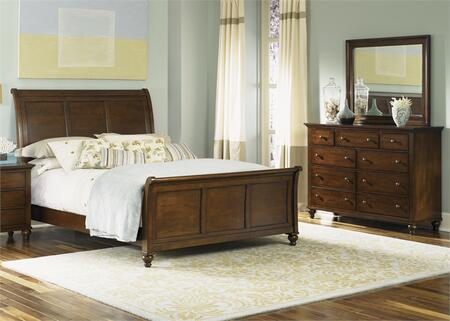 Hamilton Collection 341-BR-KSLDM 3-Piece Bedroom Set with King Sleigh Bed  Dresser and Mirror  in Cinnamon