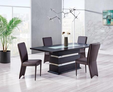DG072DT4D6605DC-BROWN 5-Piece Dining Room Set with Dining Table and 4 Dining Chairs in Wenge and