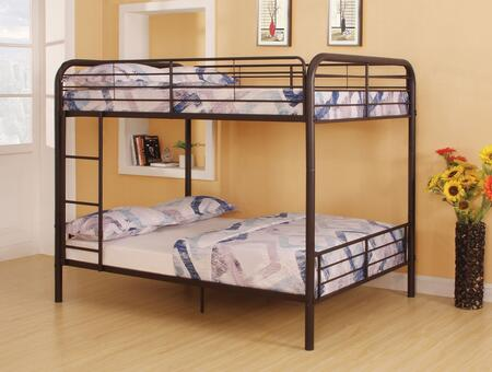 Bristol Collection 37433 Full Over Full Size Bunk Bed with Full-Length Guardrail  Reversible Front Ladder  Slat System Included and Metal Tube Construction in