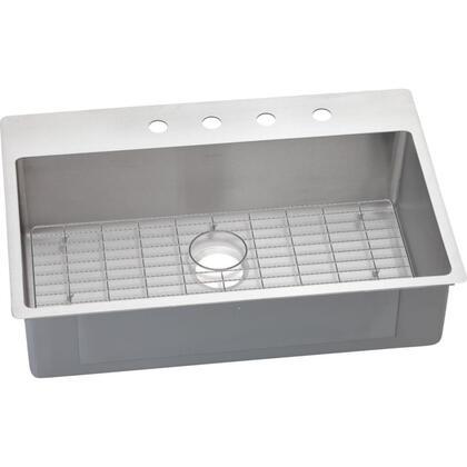 ECTSRS33229BG3 Crosstown Stainless Steel Single Bowl Dual/Universal Mount Sink Kit with Slim Rim and Bottom