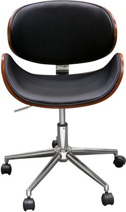 MIDTOWNCHBL Midtown Collection Office Chair with Supple Black Leatherette Seat  Caster  Swivel and Back  in
